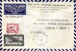 SAIGON TRADING COMPANY VIETNAM AFFRANCHISSEMENT LETTRE LETTER TIMBRE STAMP INDOCHINE VIET-NAM - Indocina (1889-1945)