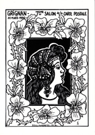 CPM (26) GRIGNAN Carte De Salon 1990 Femme Lady Art Nouveau Art Nouille Tirage Limité Illustrateur - Collector Fairs & Bourses