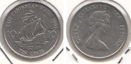 East Caribbean States 10 Cents 1991 Km#13 - Used - Caraibi Orientali (Stati Dei)