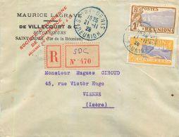 ILE DE LA REUNION MAURICE LAGRAVE DE VILLECOURT § CO.  SAINT-DENIS LETTRE RECOMMANDE TIMBRE REGISTERED LETTER STAMP - Saint Denis