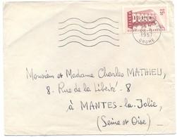 FRANCIA - France - 1957 - 15F Europa Cept - Viaggiata Da Valence Per Mantes-la-Jolie - Francia