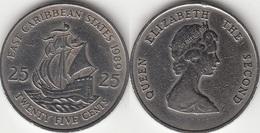 East Caribbean States 25 Cents 1989 Km#14 - Used - Caraibi Orientali (Stati Dei)