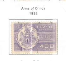 Brasile PO 1938 Arms Olinda Scott.453+See Scan On Scott.Page - Brasile