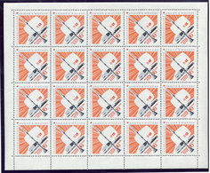 SOVIET UNION 1967 Television Tower Complete Sheet Of 20 Stamps MNH  / **.  Michel 3420 - 1923-1991 USSR
