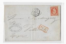40 Cent Orange N° 16, Oblit Roulette De Pointillés Pour L'Espagne En 1861, Pour Valladolid,Superbe - Postmark Collection (Covers)