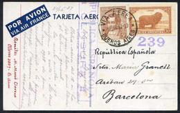 Barcelona. *Manuel Massó I Llorens* Politico.  Postal *Air France 1934* Circulada 1937. - Autógrafos