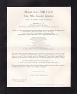 MARIEMONT BRUXELLES Ivan ORBAN époux GUINOTTE Ingénieur 1885-1961 Charbonnages Mariemont-Bascoup - Décès