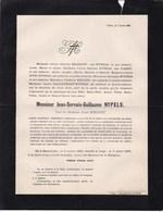 MAESTRICHT LIEGE Jean-Servais-Guillaume NYPELS 1803-1886 Professeur De Droit Université De Liège époux BORGNET - Todesanzeige