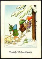 A9938 - G. Lambertz Künstlerkarte - Glückwunschkarte - Weihnachten - Zwerge Heinzelmännchen Beschr. 1951 - Sonstige
