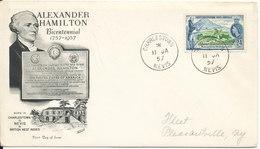 St. Christopher - Nevis - Anguilla FDC 11-1-1957 Alexander Hamilton Bicentennial With Cachet - St.Christopher-Nevis-Anguilla (...-1980)