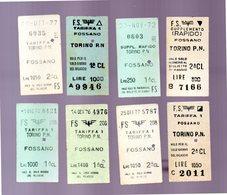 Biglietti 8 Treno Tariffa 1 TORINO PN FOSSANO 1972-76-77 Sup. Rap. '72 - Biglietti Di Trasporto