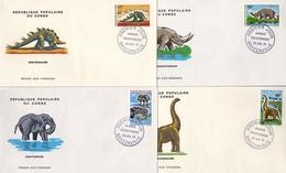 CONGO / BRAZZAVILLE , 1970 , SOBRES DE PRIMER DIA , ANIMALES PREHISTÓRICOS , DINOSAURIOS - Stamps