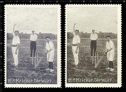 Two Very Rare Old (1910) Original German Poster Stamp Cinderella Reklamemarke Vignette Sport Cricket, Cricketer - Cricket