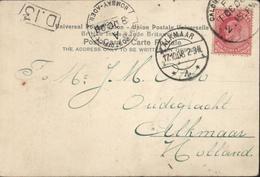 YT 75 Edouard VII British India CPA The Strand Calcutta CAD Sea Post Office Bombay Aden 8 Oc 08 Pour Alkmaar Hollande - India (...-1947)