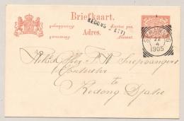 Nederlands Indië - 1905  - 5 Cent Briefkaart Van VK Semarang Naar Langstempel KEDONG DJATTI - Nederlands-Indië