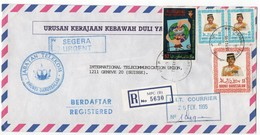 BRUNEI - 1995 REGISTERED COVER TO SWITZERLAND/U.I.T./THEMATIC STAMPS WORLD NO-TOBACCO DAY - Brunei (1984-...)