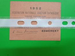 Carte Individuelle Federation D'action Catholique 1952-union Paroissiale Diocese Dans Les Deux Sevres  6x8cm - Documents Historiques