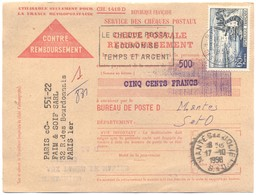 FRANCIA - France - 1958 - 65F Évian-les-Bains + Flamme Le Chèque Postal économise Temps Et Argent - Carte Postale - Cont - Francia