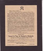 BOITSFORT IXELLES Marie-Louise De COTTEAU De PATIN épouse Fernand De THEUX De MEYLANDT  Ixelles 1881-1946 - Esquela