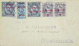 O) 1899 GUATEMALA, NATIONAL EMBLEM -TIMBRE-SCOTT A24 UN CENTAVO BLUE-NATONAL EMBLEM SCOTT A25 10 CENTAVOS-SURCHARGED CAR - Guatemala