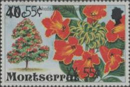MONTSERRAT 1980 Flower Tree OVPT:55c/40c ERROR:OVPT:2x [Fehler,erreur,errore,fout] - Montserrat