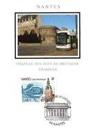 """FRANCE 2003 """" LE TRAMWAY DE NANTES """" Sur Carte Maximum En Soie. N° YT 3552. CM - Tramways"""
