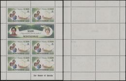 MONTSERRAT 1982 Diana's Wedding 75c/3$ H.M.Yacht Britannia Ship Sheetlet ERROR:NO OVPT OHMS:ghost Rev. [Fehler,erreur] - Montserrat