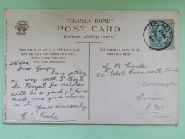 "England 1904 Postcard """"Roma - Saturn Temple"""" Folkestone To London - Storia Postale"