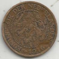 Monnaie, PAYS BAS , NEDERLAND , 2 1/2 Cent , 1916 , 2 Scans - 2.5 Cent