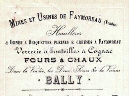 BALLY  Mines & Usines De FAYMOREAU  85   Verrereries, Fours à Chaux, Houillères   1906 - Wissels