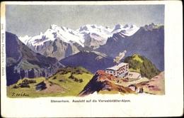 Artiste Cp Weber, J., Nidwalden, Stanserhorn, Vierwaldstätter Alpen, Gebäude - NW Nidwalden