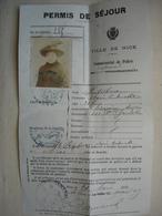 Guerre 14-18 ALSACIENS LORRAINS Permis De Séjour étrangers  à NICE En 1915 - 1914-18