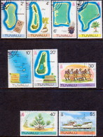 TUVALU 1977-78 SG #59//69 Part Set (9 Stamps From 12) Used Unwmkd Or New New Values Maps - Tuvalu