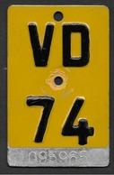 Velonummer Mofanummer Waadt VD 74 - Number Plates