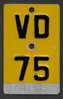 Velonummer Mofanummer Waadt VD 75 - Number Plates