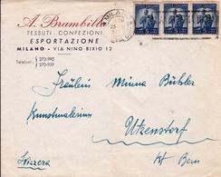 Lettre Milano Italia Brambilla Tessuti Confezioni Svizerra Suisse Tissus Confection - 6. 1946-.. Repubblica
