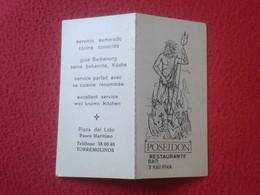 ANTIGUA TARJETA DE VISITA VISIT CARD PUBLICIDAD PUBLICITARIA O SIMIL POSEIDON RESTAURANTE BAR TABERNA TORREMOLINOS SPAIN - Tarjetas De Visita
