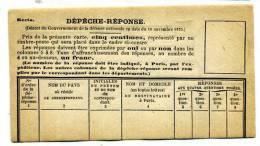 FORMULAIRE DE DEPECHE REPONSE / SIEGE DE PARIS / GUERRE DE 1870 - Postmark Collection (Covers)