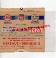 59- ROUBAIX- LILLE- DISQUE CONTROLE STATIONNEMENT-VETEMENTS SUR MESURE AU TAILLEUR DE L' ALOUETTE-HERBAUT-DENNEULIN - Old Paper