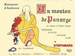 CARTE PUBLICITAIRE DUBOUT - PARIS RESTAURANT - AU MOUTON DE PANURGE - RUE CHOISEUL - VOIR VERSO - éd DUBOUT  14X10,5cm - Dubout