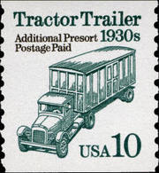 1991 USA Transportation Coil Stamp  Tractor Trailer Sc#2457 History Post Additional Presort Postage Paid - Post