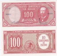 Chile - 10 Centimos On 100 Pesos 1960 Pick 127a UNC Lemberg-Zp - Chile