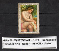 "GUINEA EQUATORIALE - 1973 - Francobollo Tematica "" Arte - Quadri - Nudi - "" RENOIR "" Usato -  (FDC9463) - Guinea Equatoriale"