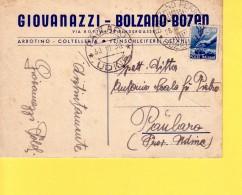 ITALIA - REPUBBLICA - ARROTINO COLTELLERIA GIOVANAZZI - BOLZANO - BOZEN - VIAGGIATA  1950 PER  PAULARO (UD) - 1946-.. République