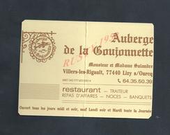 CDV CARTE DE VISITE Md SALANDRE AUBERGE À VILLIERS LES RIGAULT X LIZY SUR OURCQ PLIE : - Visitenkarten