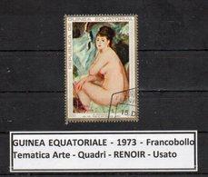 "GUINEA EQUATORIALE - 1973 - Francobollo Tematica "" Arte - Quadri - Nudi - "" RENOIR "" Usato -  (FDC9464) - Guinea Equatoriale"