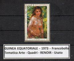 "GUINEA EQUATORIALE - 1973 - Francobollo Tematica "" Arte - Quadri - Nudi - "" RENOIR "" Usato -  (FDC9465) - Guinea Equatoriale"