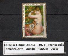 "GUINEA EQUATORIALE - 1973 - Francobollo Tematica "" Arte - Quadri - Nudi - "" RENOIR "" Usato -  (FDC9466) - Guinea Equatoriale"