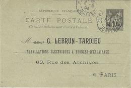 1904- C P E P 10 C Sage REPIQUAGE   De L'adresse - Marcophilie (Lettres)