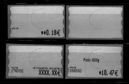 4 ATM EN BLANCO, BALANZA Nº 4636, VARIANTES AJUSTE, SIN NADA, PESO E IMPORTE. RARÍSIMA. 17/11/2003-ESPAÑA REBAJADA - ATM - Frama (viñetas)